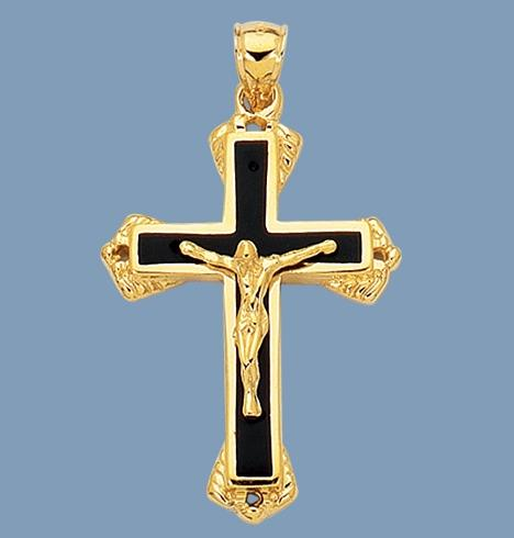 3d Mens Solid Cross Crucifix With Black Onyx Real 14k
