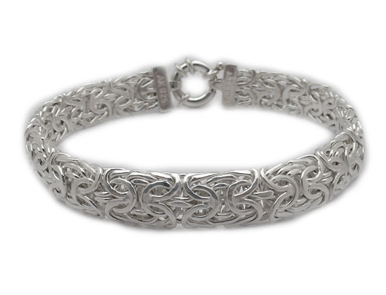 Bold Mirrored Byzantine Bracelet Real 925 Sterling Silver