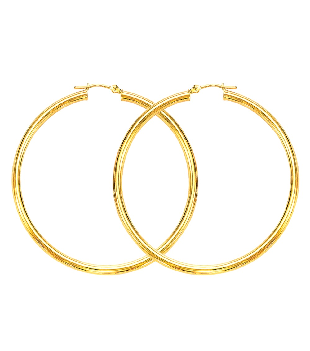 3mm x 50mm 2 large plain shiny hoop earrings real 14k. Black Bedroom Furniture Sets. Home Design Ideas