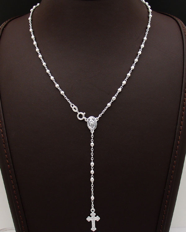 24 Quot Diamond Cut Bead Ball Rosary Cross Chain Necklace