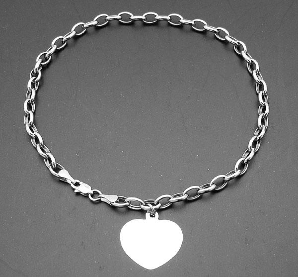 Engravable Solid Heart Tag Oval Rolo Link Anklet Bracelet
