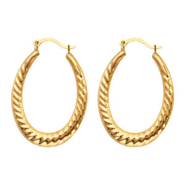 graduated twisted oval hoop earrings real 14k yellow gold. Black Bedroom Furniture Sets. Home Design Ideas