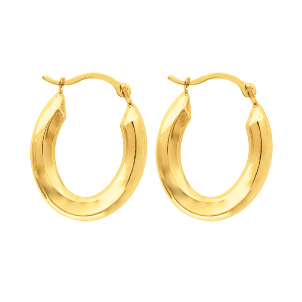 3 4 small polished oval hoop earrings real 14k yellow. Black Bedroom Furniture Sets. Home Design Ideas
