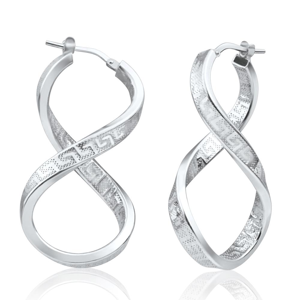 1 1 2 quot figure 8 twisted key hoop earrings real 925