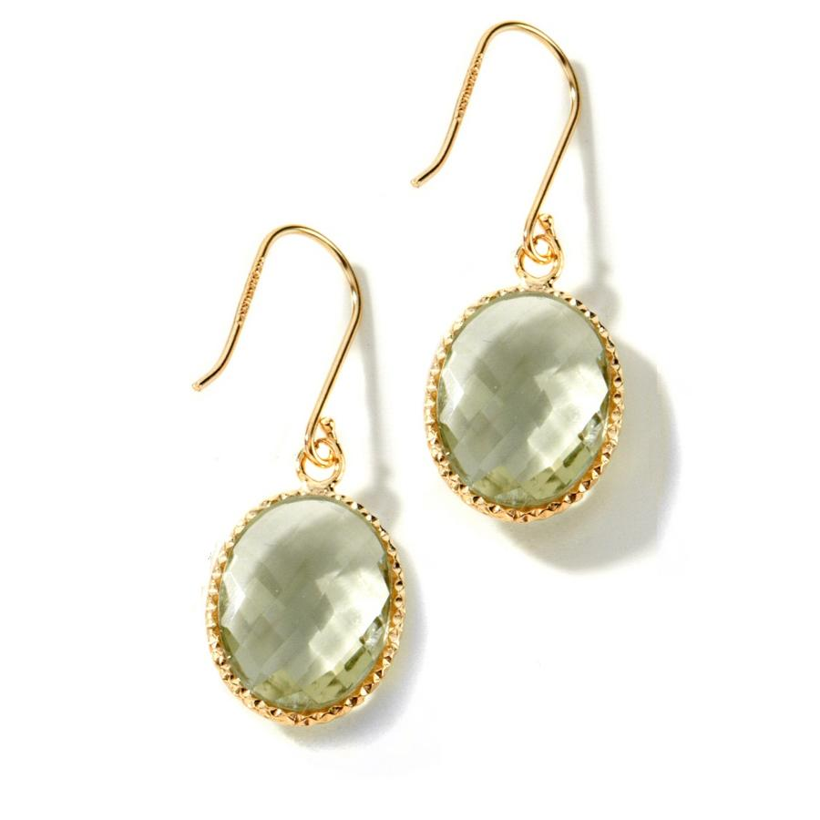 technibond faceted prasiolite earrings 14k gold clad