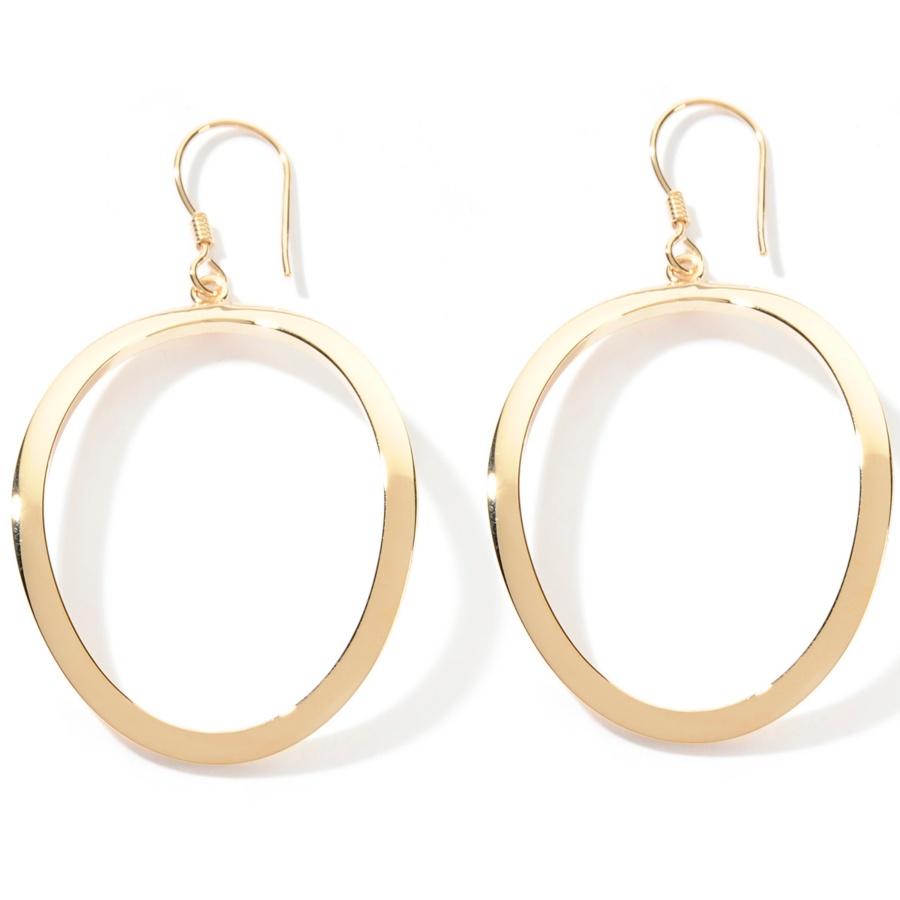 Silhouette Earrings: Technibond Polished Circle Silhouette Drop Earrings 14K