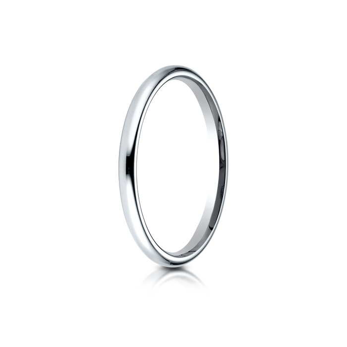 Solid Plain Wedding Band Ring 14K White Gold 2mm