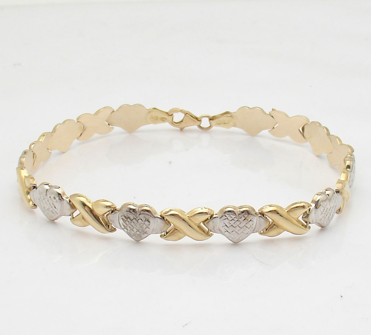 Diamond Cut Hearts & Kisses Bracelet Genuine REAL 10K
