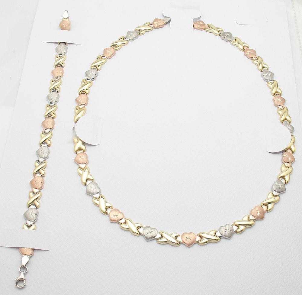 Hearts And Kisses Bracelet: Hearts & Kisses Bracelet Necklace Set 14K Tricolor Gold