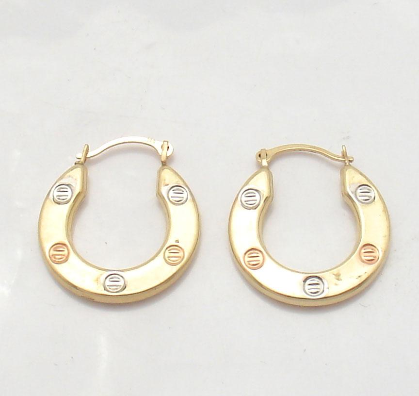 screw design hoop hoops earrings real 14k tricolor yellow. Black Bedroom Furniture Sets. Home Design Ideas