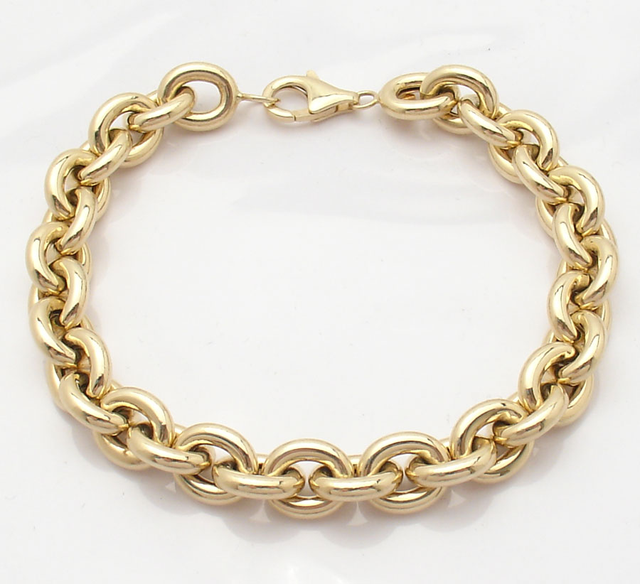 Italian Charm Bracelet Brands: 9mm Wide Italian Oval Link Charm Bracelet Real 14K Yellow