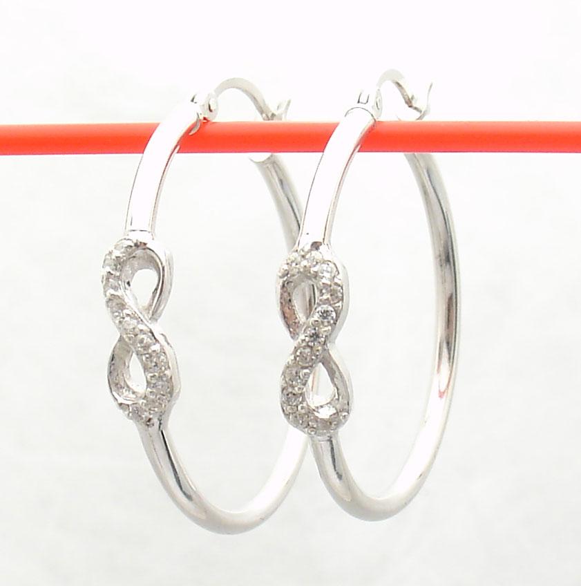 1 quot diamonique cz infinity hoop earrings antitarnish real