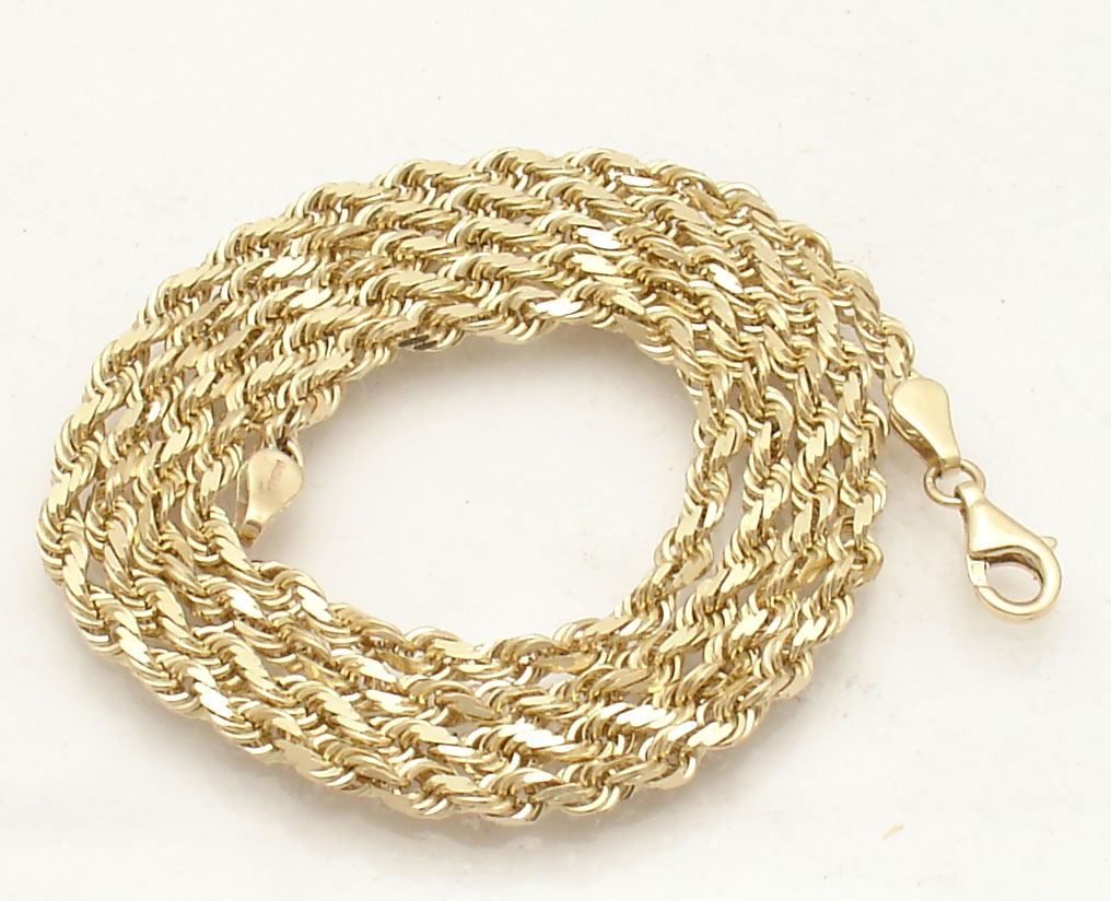 4mm Diamond Cut Solid Rope Chain Necklace Real 10k Yellow