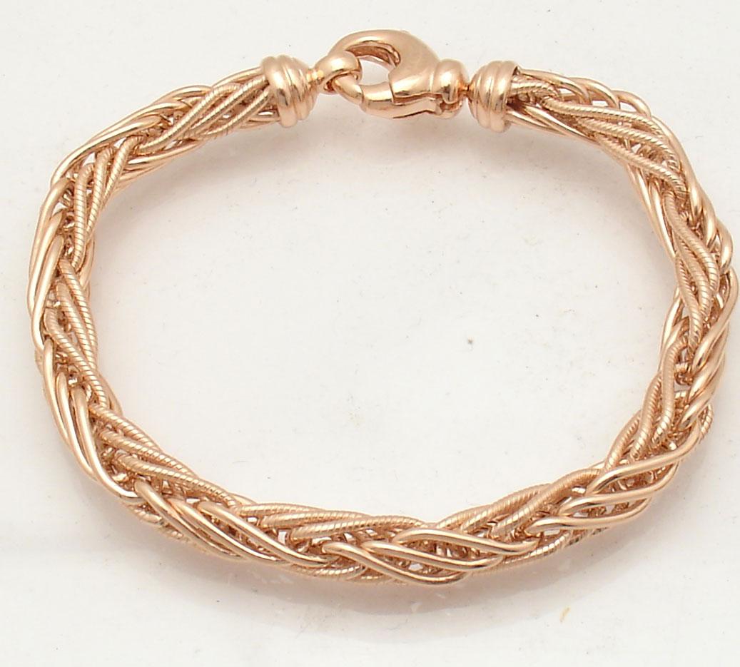 Textured Round Spiga Wheat Chain Bracelet Necklace 14K