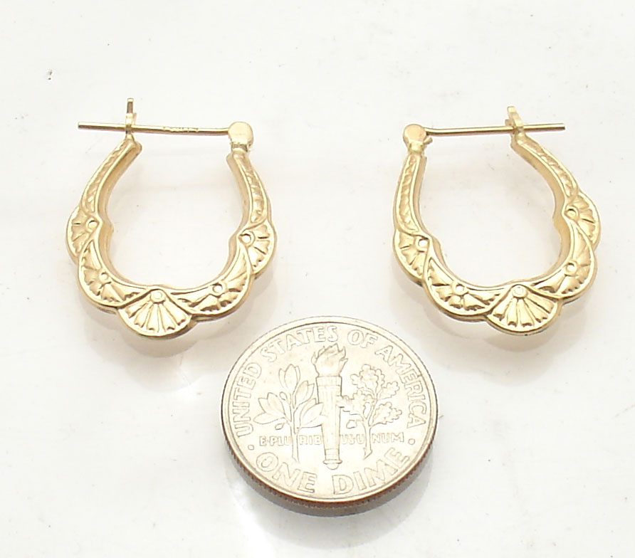 graduated textured hoop earrings real 14k yellow gold free. Black Bedroom Furniture Sets. Home Design Ideas