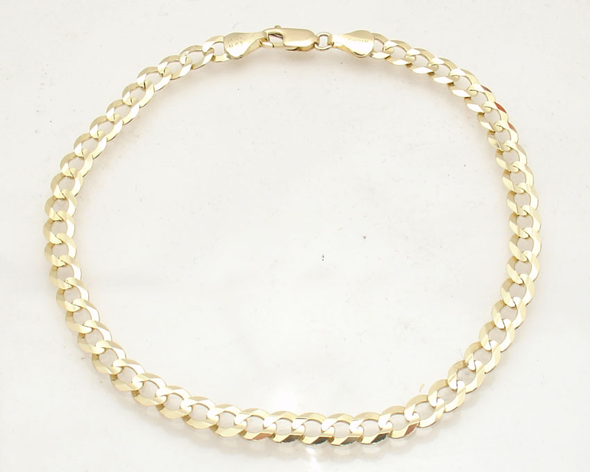 5 7mm Solid Curb Cuban Link Ankle Bracelet Anklet Real 14k