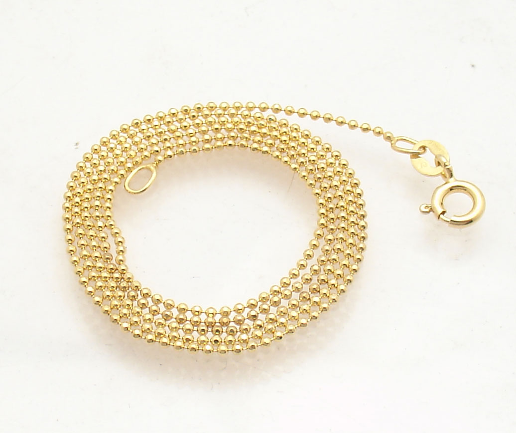 1mm Technibond Solid Bead Ball Chain Necklace 14k Yellow