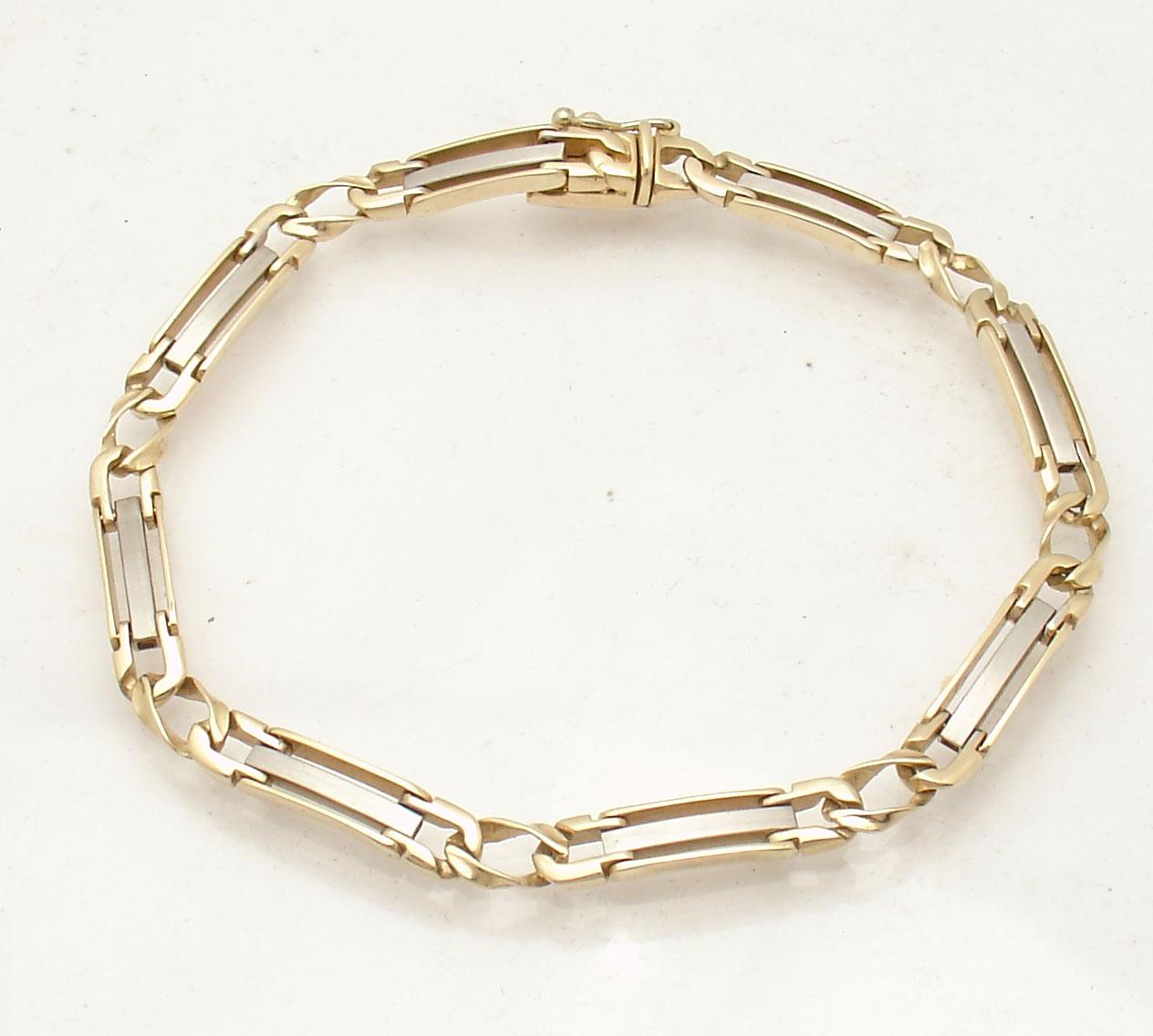 mens 85quot solid designer railroad bracelet real 14k yellow