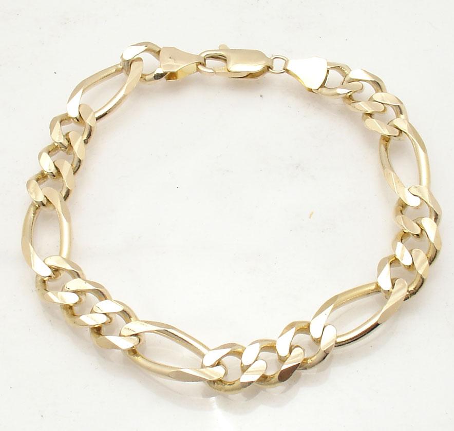 10mm solid mens figaro chain bracelet real 14k yellow gold. Black Bedroom Furniture Sets. Home Design Ideas