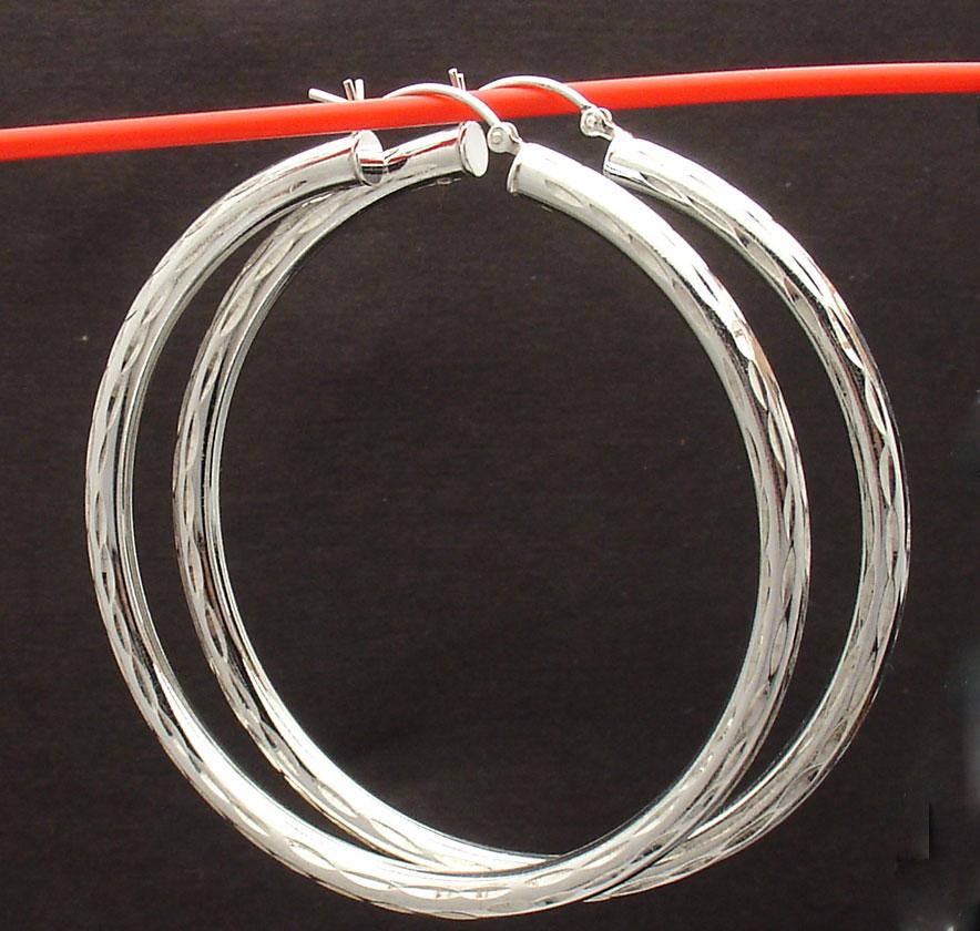 2 3 8 quot 4mm x 60mm large cut hoop earrings