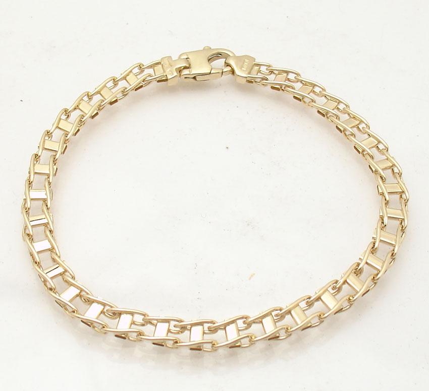 8 5 mens italian railroad bracelet real solid 14k yellow