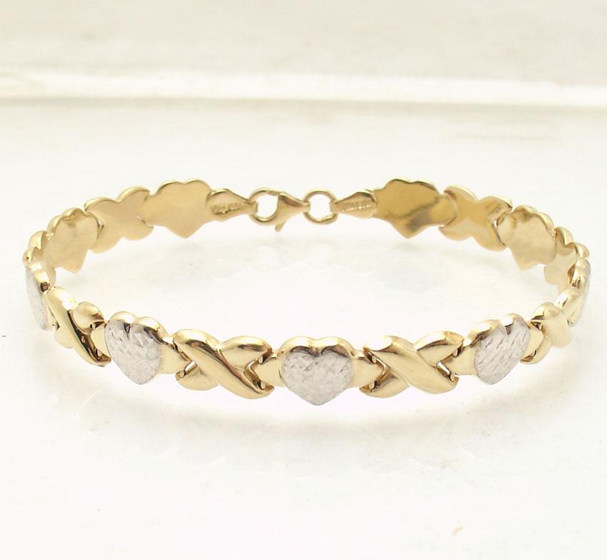 "Hearts And Kisses Bracelet: 7.25"" Hearts & Kisses Bracelet 14K Yellow White Two-Tone"