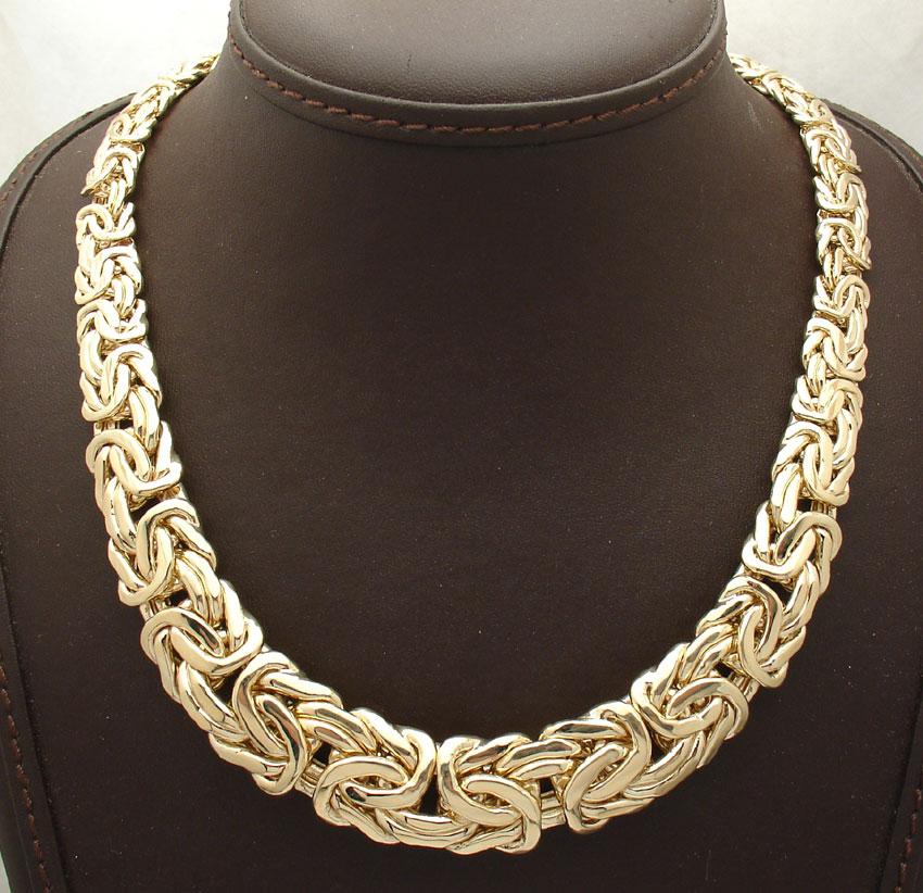 18 quot all shiny graduated bold byzantine necklace real 14k