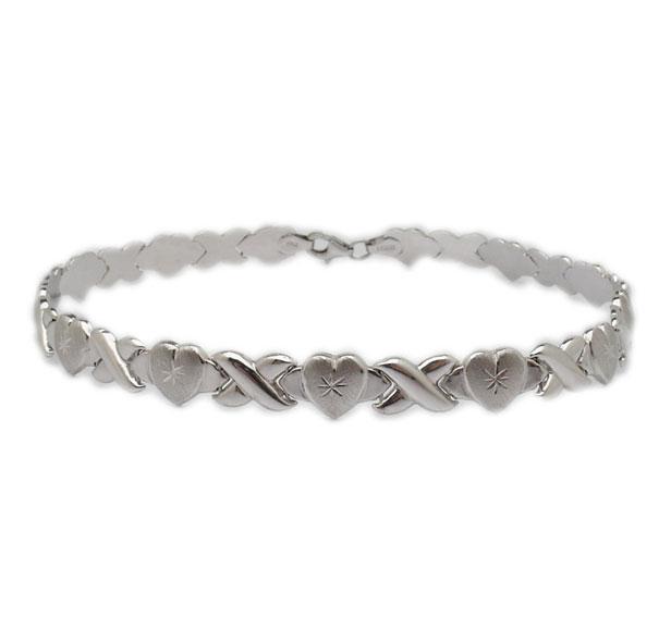 Hearts And Kisses Bracelet: Diamond Cut Hearts & Kisses Ankle Bracelet Stampato Anklet