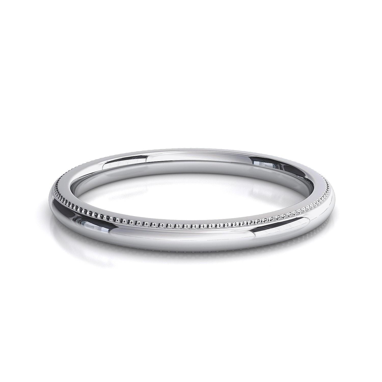 2mm Comfort Silk Fit Milgrain Wedding Band Ring Genuine Solid 14K White Gold