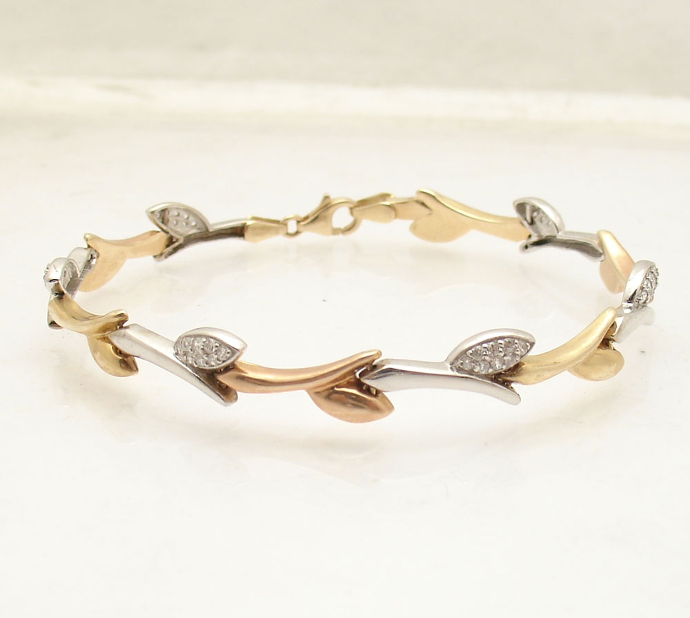 diamonique cz leaf link bracelet real solid 14k yellow