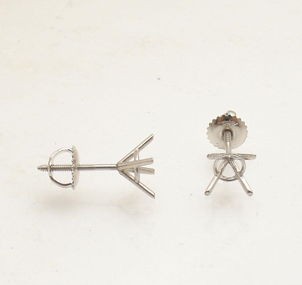 4 Prong Martini Round Diamond Stud Earrings Settings Mountings 14k White  Gold