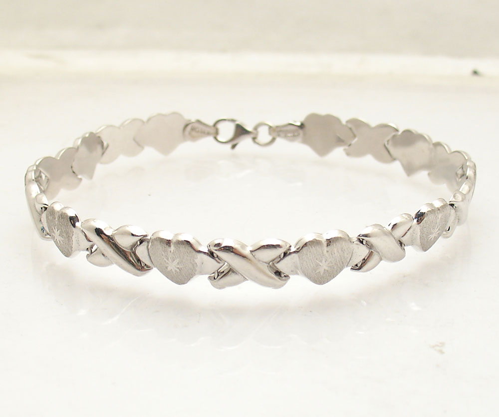 Diamond Cut Hearts & Kisses Stampato Bracelet Real 14K