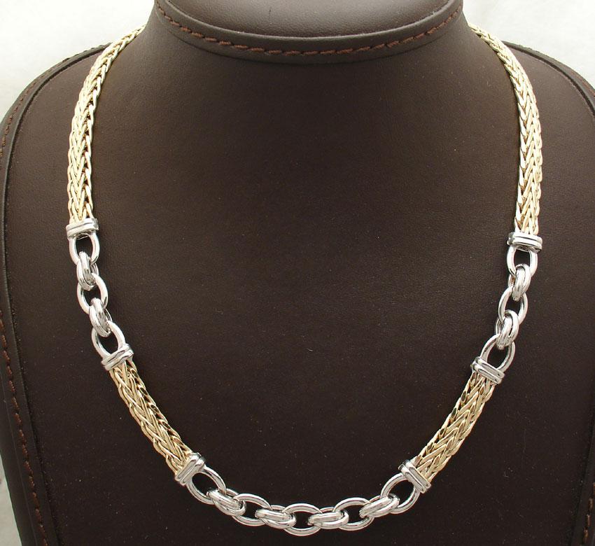 Silver Turkish Platinum: Technibond Wheat Spiga Oval Chain Necklace 14K Yellow Gold