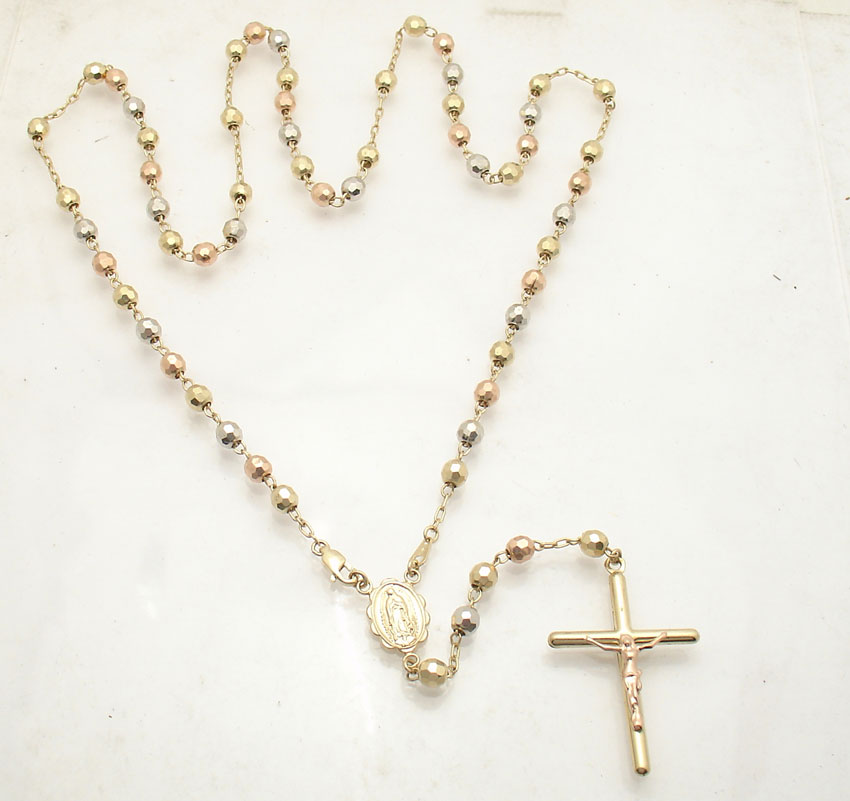 5mm 25 Quot Mens Cross Crucifix Rosary Chain Necklace Real 14k