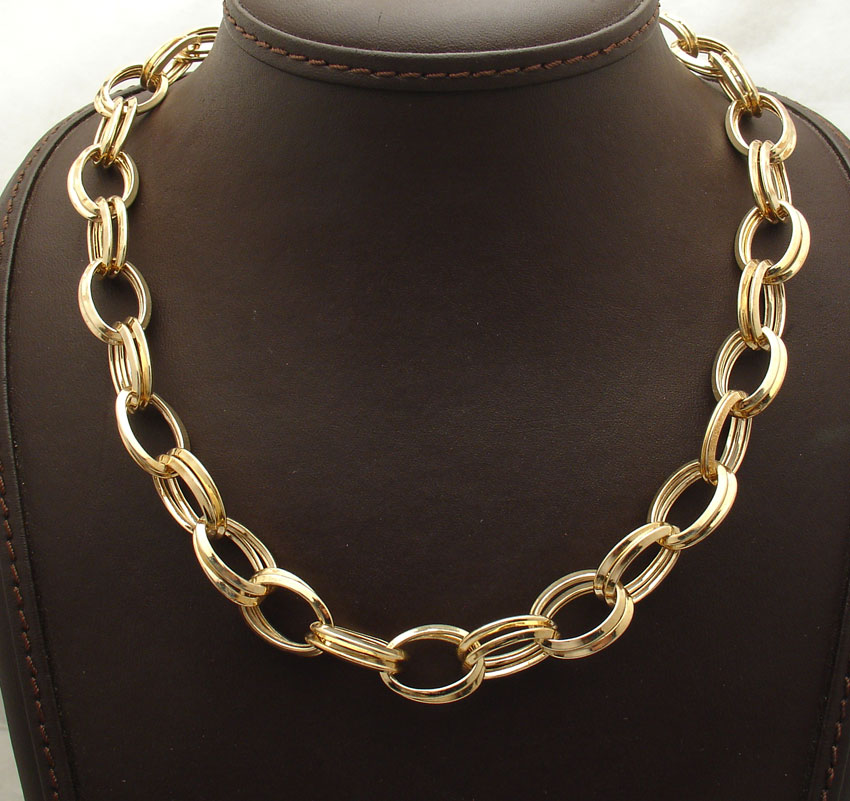 Technibond Bold Double Oval Link Chain Necklace 14k Yellow Gold Clad Silver Hsn Ebay