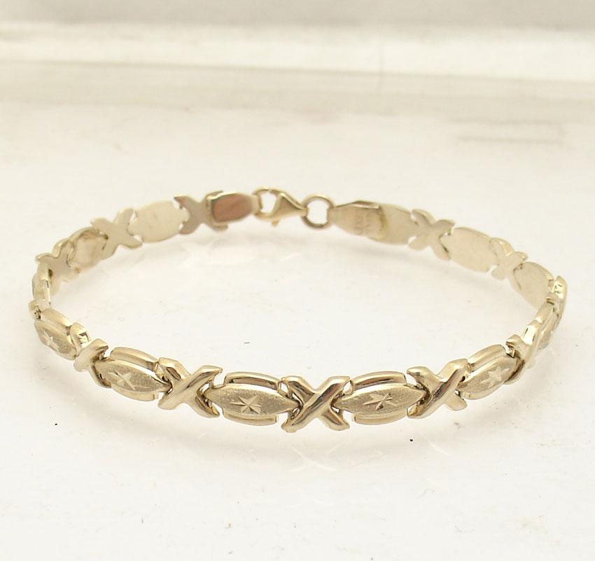 "Xoxo Gold Bracelet: 7"" Diamond Cut Hugs & Kisses XOXO Stampato Bracelet Real"