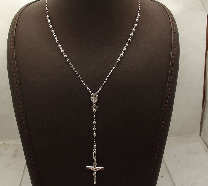 24 Quot 3mm Diamond Cut Rosary Chain Cross Crucifix Necklace