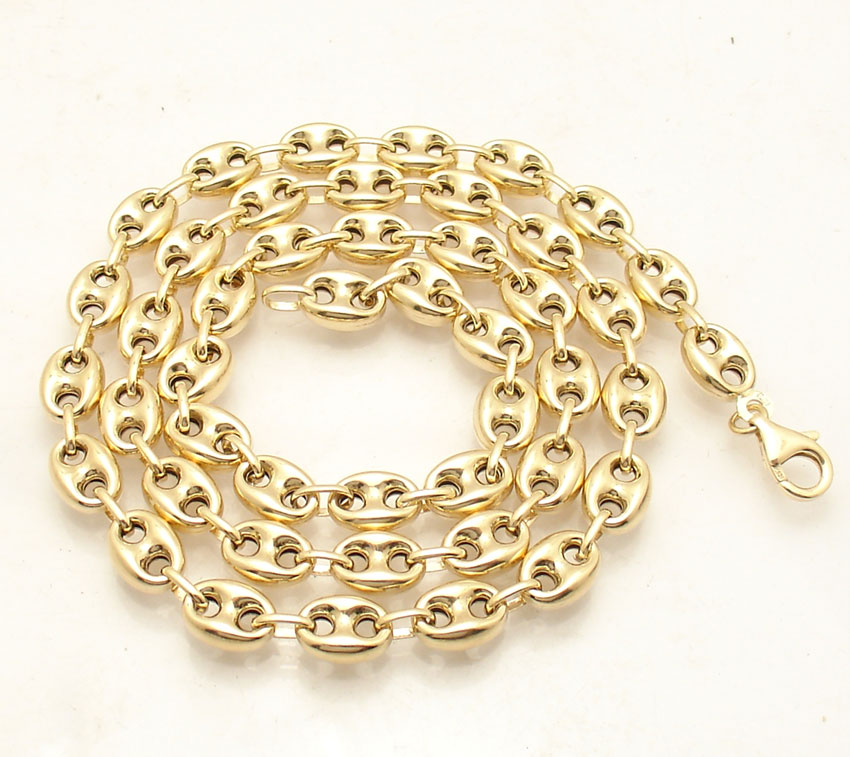 7 8mm Puffed Mariner Anchor Gucci Link Chain Necklace Real