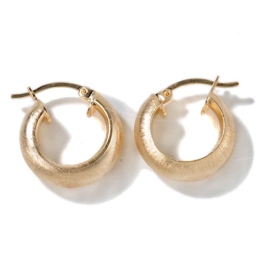 brushed round hoop earrings real 14k yellow gold free. Black Bedroom Furniture Sets. Home Design Ideas