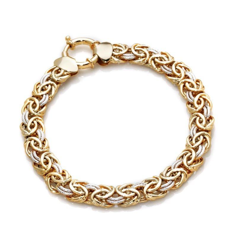 technibond two tone byzantine bracelet 14k yellow white
