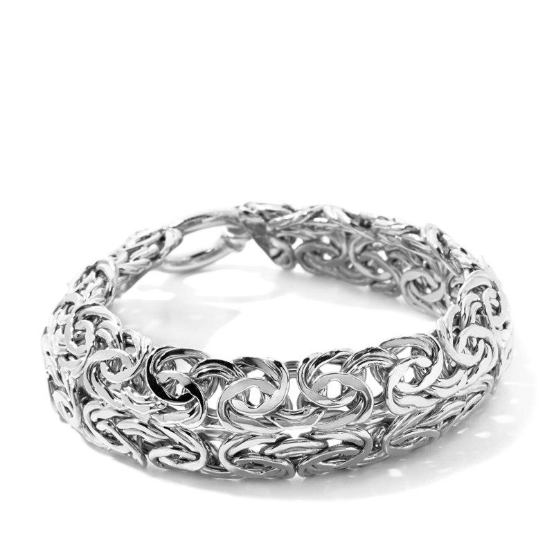"Silver Turkish Platinum: 8"" Bold Technibond Double Row Byzantine Bracelet Platinum"
