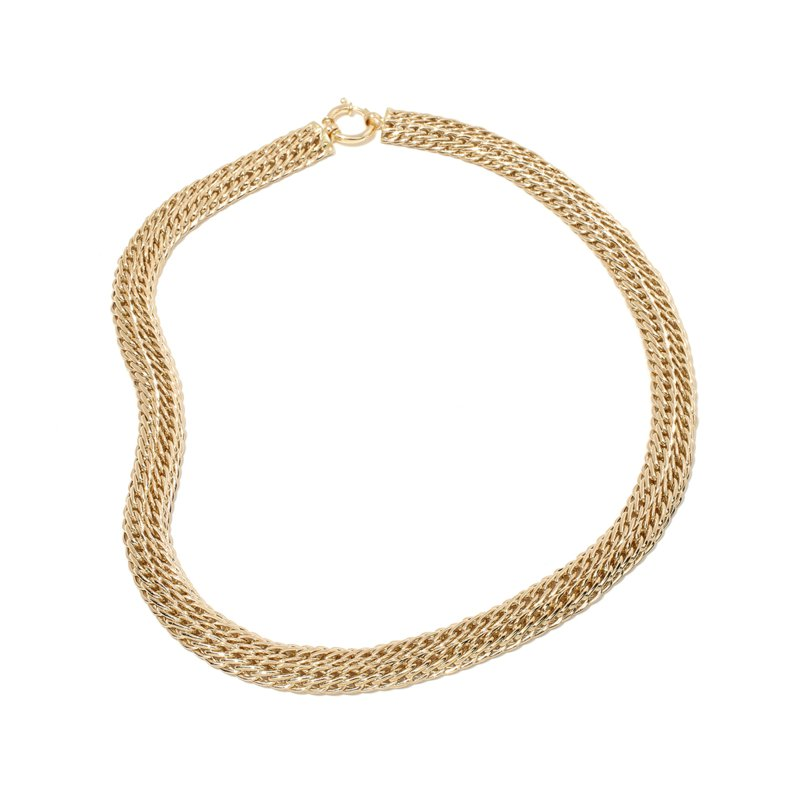 """18"""" Sevilla Gold Domed Spiga Wheat Chain Necklace Real 14K"""