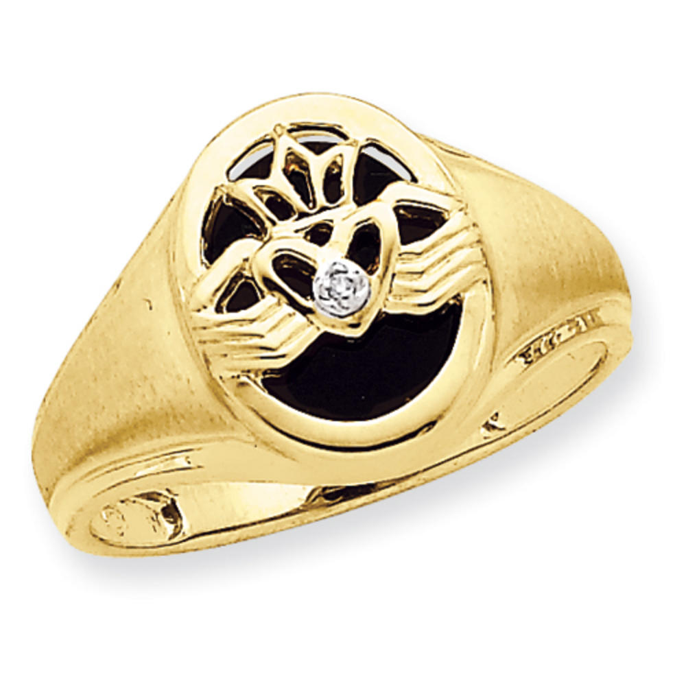 sz 9 s real black onyx and claddagh ring solid