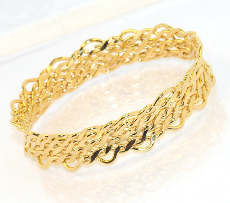 How To Basket Weave Bracelet : Technibond basket weave round bangle bracelet k yellow