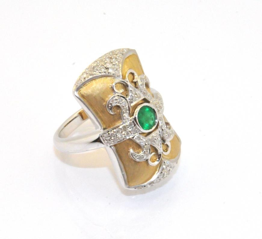 real emerald cz gemstone sultan status ring solid 14k