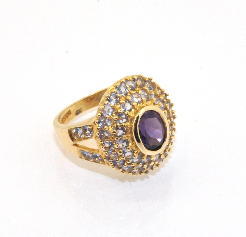 Amethyst Gemstone Fancy Set Ring 10K Solid Yellow Gold Size 6 6 3grams
