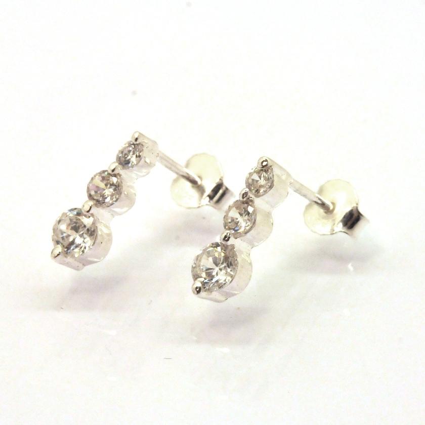 diamonique cz fancy journey stud earrings 925 sterling