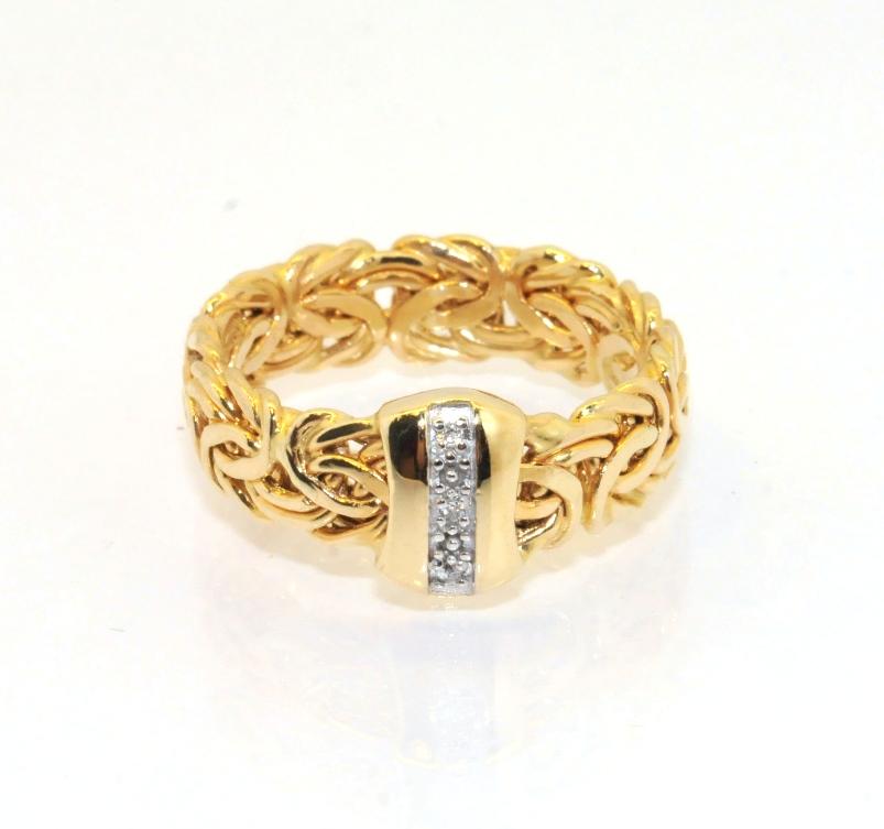byzantine diamonique cz gemstone ring 14k yellow gold