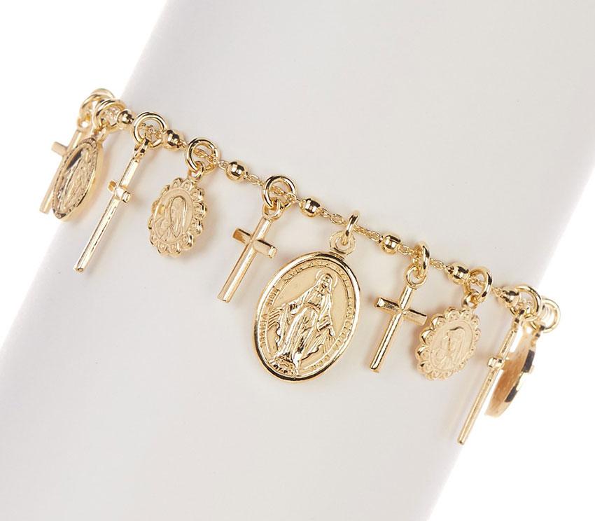Virgin Mary Cross Charm Rosary Bracelet 18k Yellow Gold