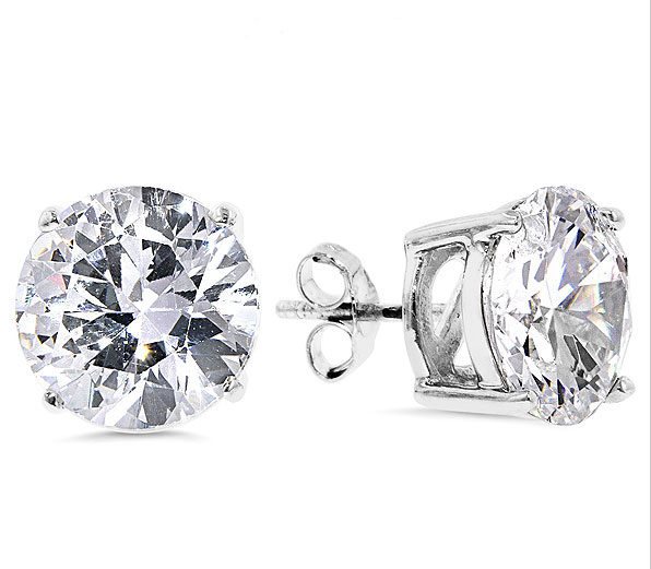 Mens Round Diamonique Cz Solitaire Stud Earrings Real 925 Sterling Silver